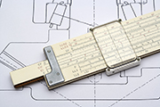 Slide Rule on a mechanical drawing of a gear box.